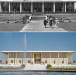 Top: The original Adams Library built in 1963  (photo: RIC Archives) Bottom:   The American Embassy in New Delhi, designed by  Edward Durrell Stone in 1954 (photo: EDSToneArchpaper.com)