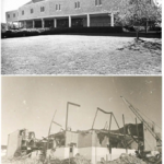 The Walsh Health and Physical Education Center before and after the fire that destroyed the building in 1992. (photos: RIC Archives)