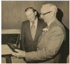 Joseph Kauffman (left) with Charles Willard (right) at the dedication of Willard Hall (photo: RIC Archives)